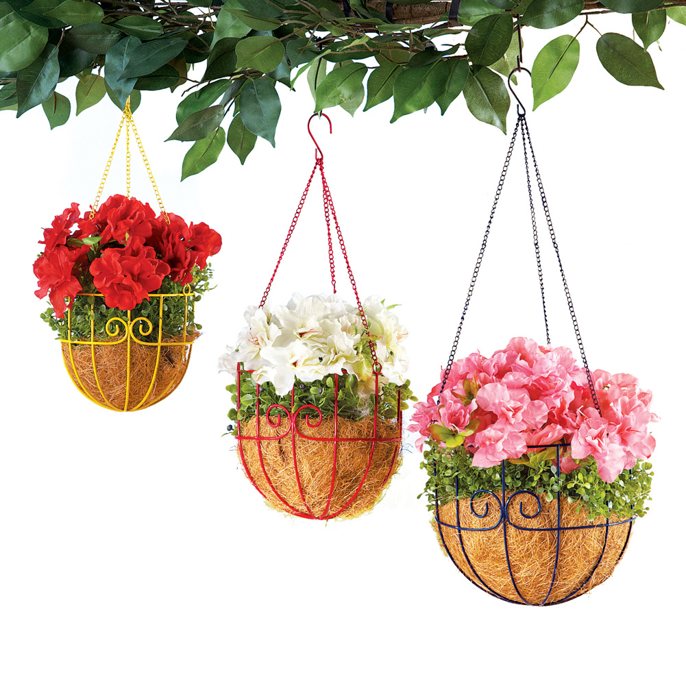 Set of 3 Colorful Metal Scroll Hanging Planter Baskets