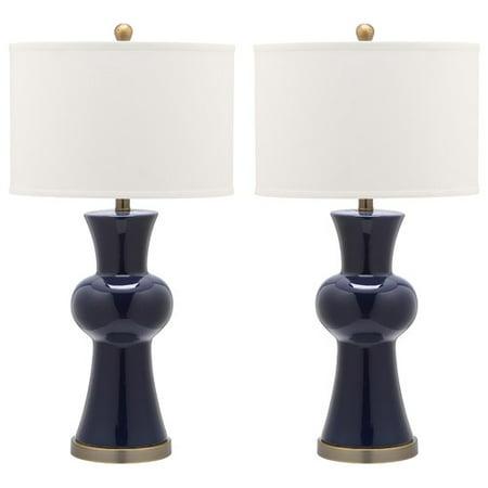 safavieh lola column 30 39 39 h table lamp with drum shade set of 2. Black Bedroom Furniture Sets. Home Design Ideas