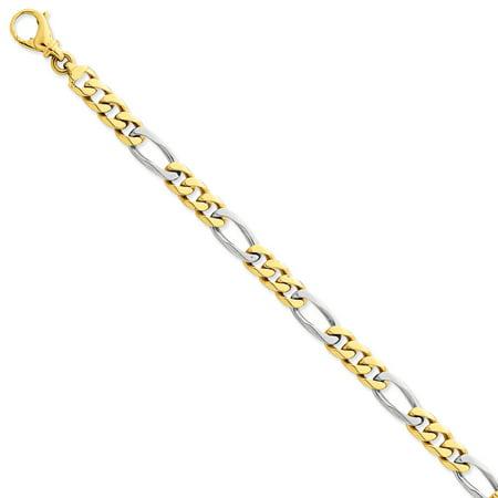 Mens Gold Figaro Bracelet - 14k Two Tone Gold 8in 7.85mm Polished Figaro Mens Link Bracelet