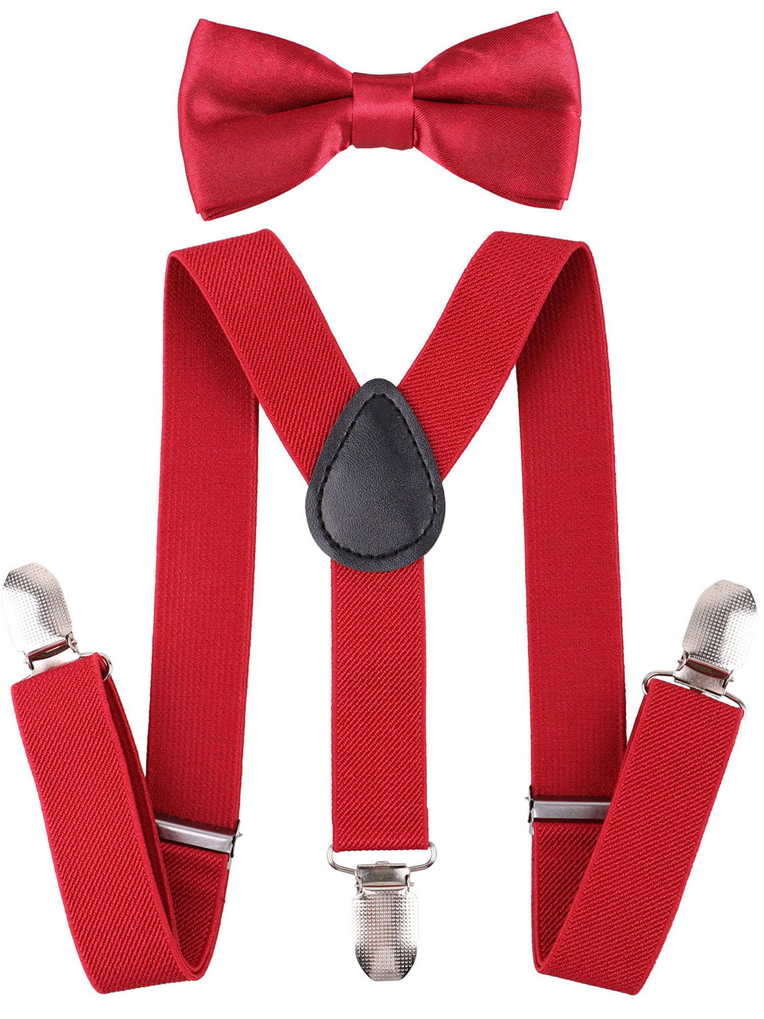 Suspenders and Pre Tied Bowtie Y Shape Suspender for Kids, Burgundy