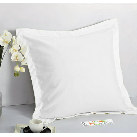 "1 Pair 2 Pieces Euro Pillow Shams 26"" x 26"" + 1.5"" Hem White Machine Wash Dry"