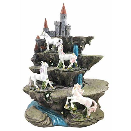 4 Beautiful Miniature Rare Unicorn Pieces With Waterfall Castle Fortress Display - Waterfall Displays