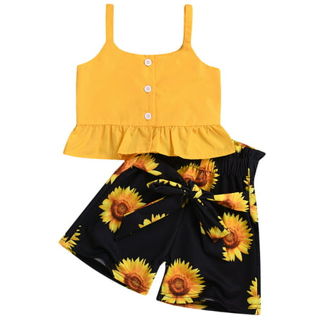 Multitrust Fashion Toddler Baby Kids Girls Clothes Crop Tops Sunflower Shorts Pants Outfits Sets