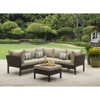 Better Homes & Gardens Avila Beach 4-Piece Wicker Patio Furniture Sectional Set, with Pillows