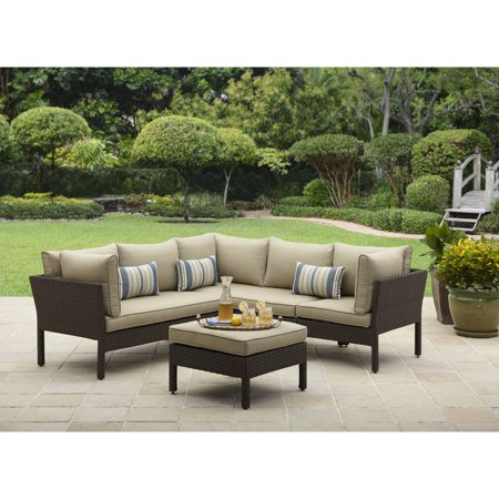 Better Homes & Gardens Avila Beach 4-Piece Wicker Patio Furniture Sectional Set, with Pillows