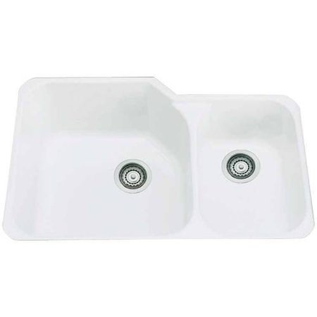Rohl Allia 33 Double Basin Undermount Fireclay Kitchen Sink Available In Various Colors