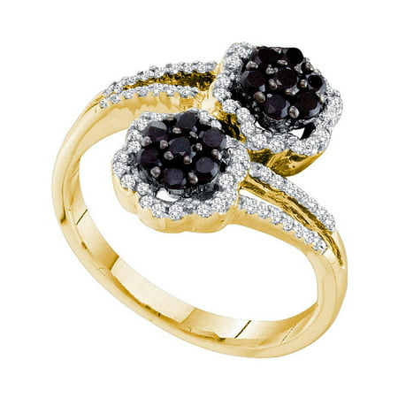 14kt Yellow Gold Womens Round Black Color Enhanced Diamond Flower Cluster Bypass Ring 1/2 Cttw - image 1 de 1