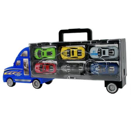 KidPlay Semi Truck Trailer Race Car Transporter Diecast Hauler - Blue