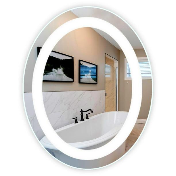 Front Lighted Led Bathroom Vanity Mirror 32 Wide X 40 Tall Oval Wall Mounted Walmart Com Walmart Com