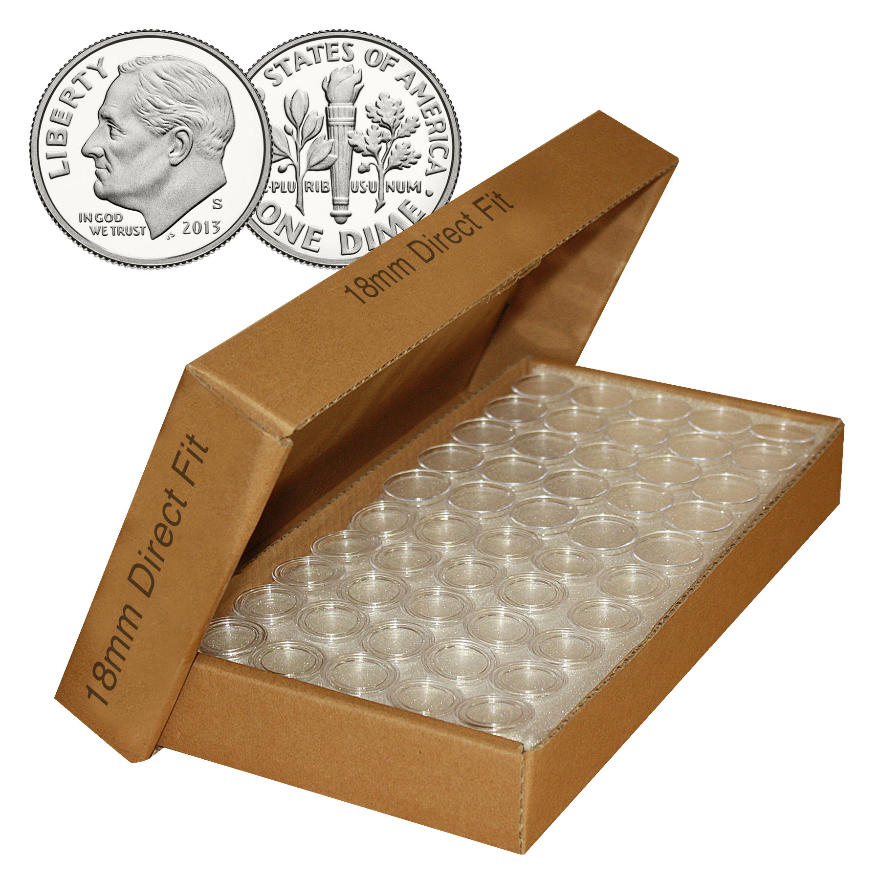 DIME Direct-Fit Airtight 18mm Coin Capsule Holders For DIMES (QTY: 25)