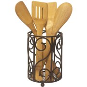 Home Basics Scroll Collection Cutlery Holder, Bronze