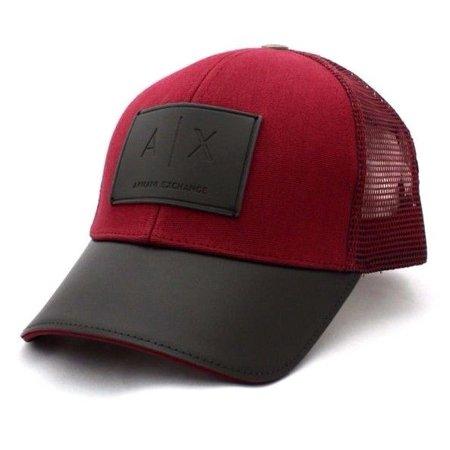 NEW MEN'S ARMANI EXCHANGE A|X RED BLACK LEATHER PATCH MESH TRUCKER HAT CAP (Caps Armani Exchange Black)