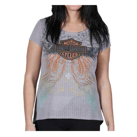 - Women's Embellished Classy But Sassy Short Sleeve Tee, Knit Gray, Harley Davidson