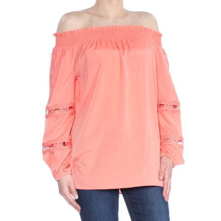 LE GALI Womens Orange Eyelet  Stretched Top Long Sleeve Off Shoulder Top  Size: XS