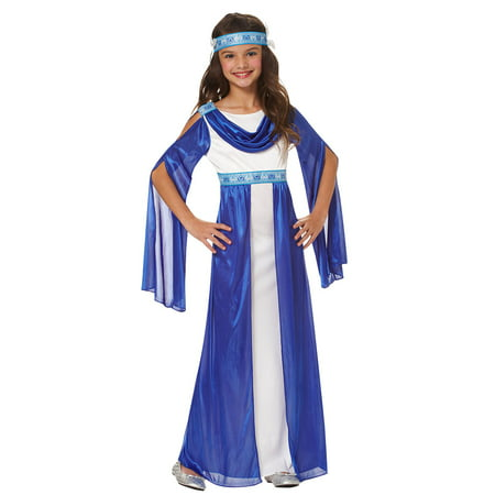 Greek Empress Girls Grecian Roman Blue Toga Halloween (Children's Greek Costume Ideas)
