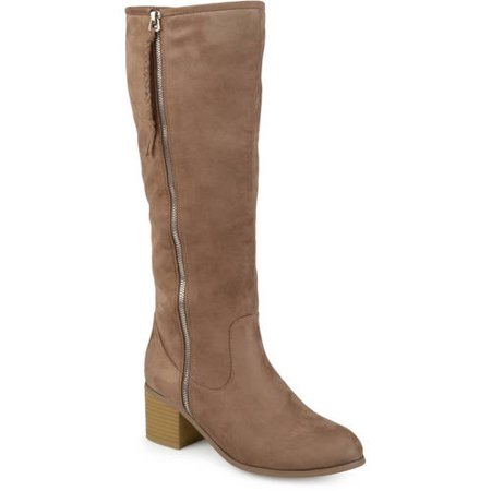 Brown Suede High Heel - Womens Faux Suede Mid-calf Stacked Wood Heel Boots