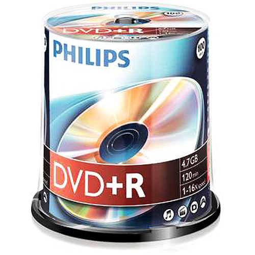 Philips DVD-R Duplication Grade White Inkjet Hub Printable 16X Media 100 Pack in Cake Box (DM416B00M/17)
