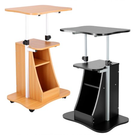 Dilwe Height Adjustable Laptop Cart Standing Notebook Desk Table Storage Compartment with Wheel, Standing Computer Desk, Laptop Table (Adjustable Computer Carts)