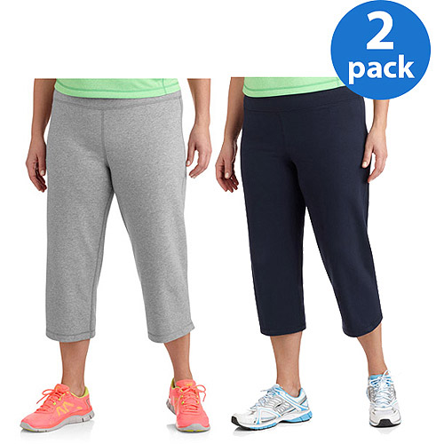 Dankskin Now Women;s Plus-Size Dri-More Capri Pants, 2-Pack Bundle