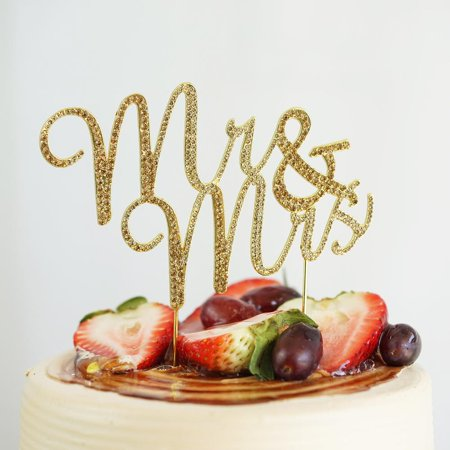 Efavormart 3.5 inch Mr & Mrs Gold Rhinestone Wedding Cake Topper For Wedding Party Special Event Personalized Decorations (Decoration For Cakes)