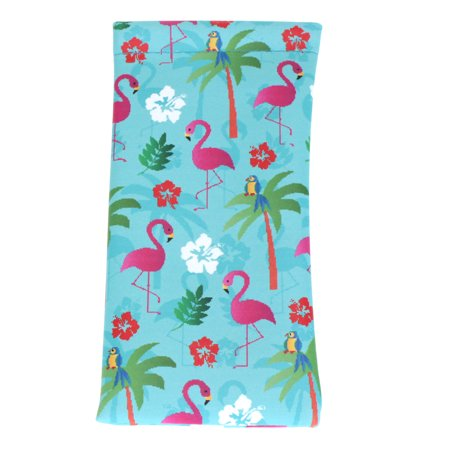 Womens Blue Flamingo Palm Tree Print Squeeze Top Sunglasses Pouch - Palm Tree Sunglasses