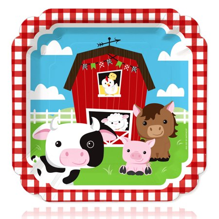 Farm Animals - Barnyard Baby Shower or Birthday Party Dinner Plates (16 Count) - Barnyard Animals