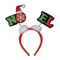 """Pack of 12 Red and Green Glittered """"Noel"""" Snap-on Christmas Headband Accessories"""