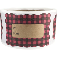 Pink Buffalo Plaid Natural Kraft Christmas Gift Tags Holiday Present Stickers 2 x 3 Inch 100 Total Labels