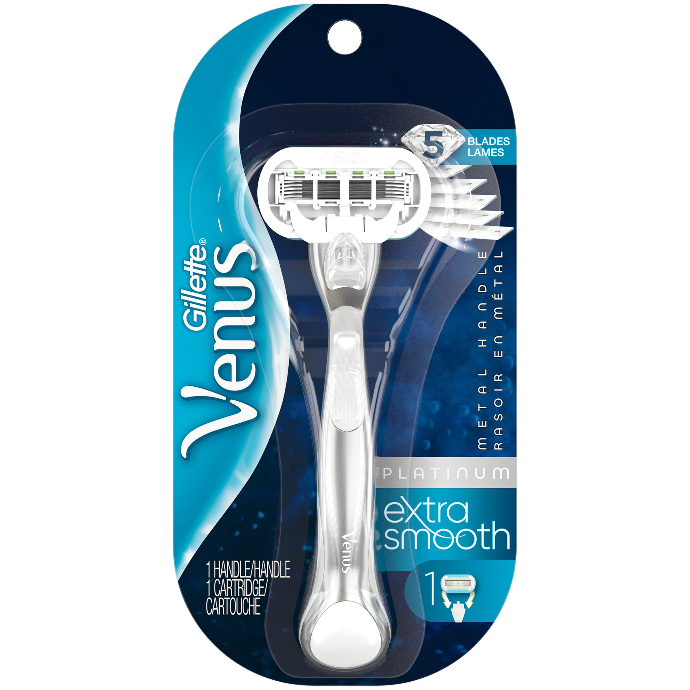Gillette Venus Platinum Extra Smooth Metal Handle Women's Razor, 1 Handle plus 1 Refill
