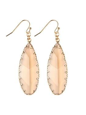Riah Fashion Faceted Teardrop Hook Earrings