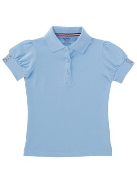 French Toast Girls School Uniform Short Sleeve Puff Sleeve Polo Shirt With Rhinestone Buttons (Little Girls & Big Girls)