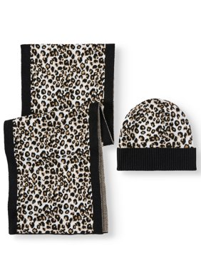 T by Tignanello Women's Leopard Beanie and Scarf Gift Set
