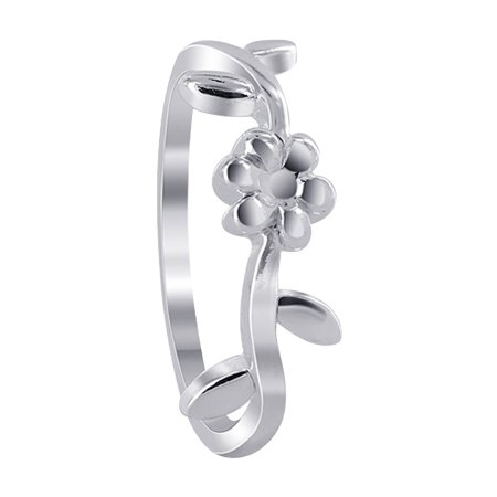 Sterling Silver Flower Vine - Gem Avenue Curly Vine Design 925 Sterling Silver Flower Shape Ring