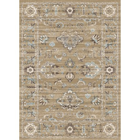 Vitaly Quinn Area Rugs - 3562 Traditional Oriental Beige Circles Petals Vines Blossoms Rug