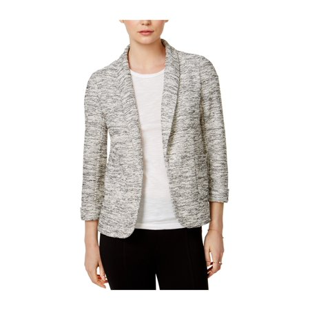 Knit Beaver (MAISON JULES Womens Gray 3/4 Sleeve Knit Open Cardigan Tunic Blazer Wear To Work Jacket  Size: L )