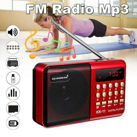 2Pcs Mini Portable Radio LCD Digital FM Radio Receiver Telescopic Antenna Pocket Speaker Outdoor Speaker Battery Operated with Battery ,USB
