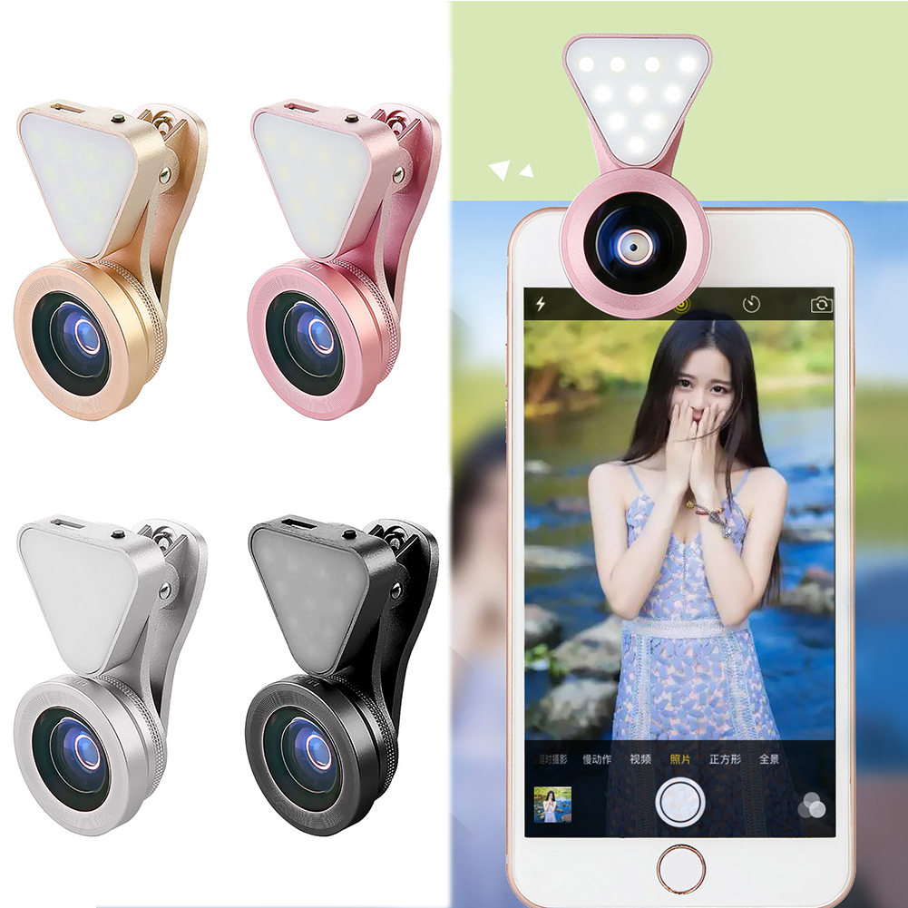 3 in 1 Phone Camera Lens Kit Wide Angle Macro with Beauty LED Flash Fill Light