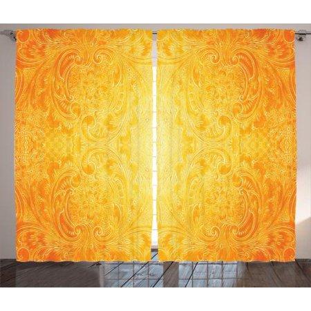 Orange Curtains 2 Panels Set, Victorian Style Antique Metal Pattern Ornamental Flourish Vintage Illustration, Living Room Bedroom Decor, Orange Yellow, by Ambesonne