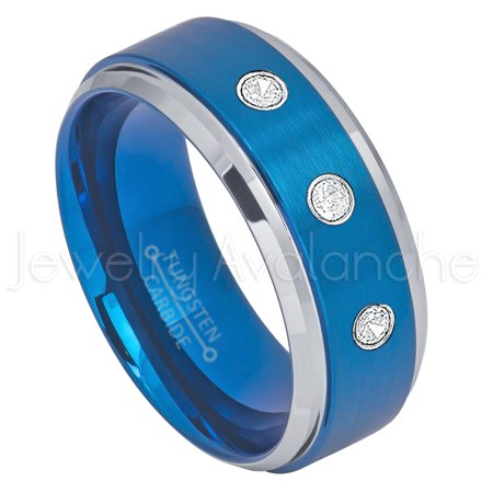- 2-Tone Blue IP Tungsten Ring - 0.21ctw Diamond 3-stone Band - Personalized Tungsten Wedding Ring - Custom Made April Birthstone Ring TN693BS