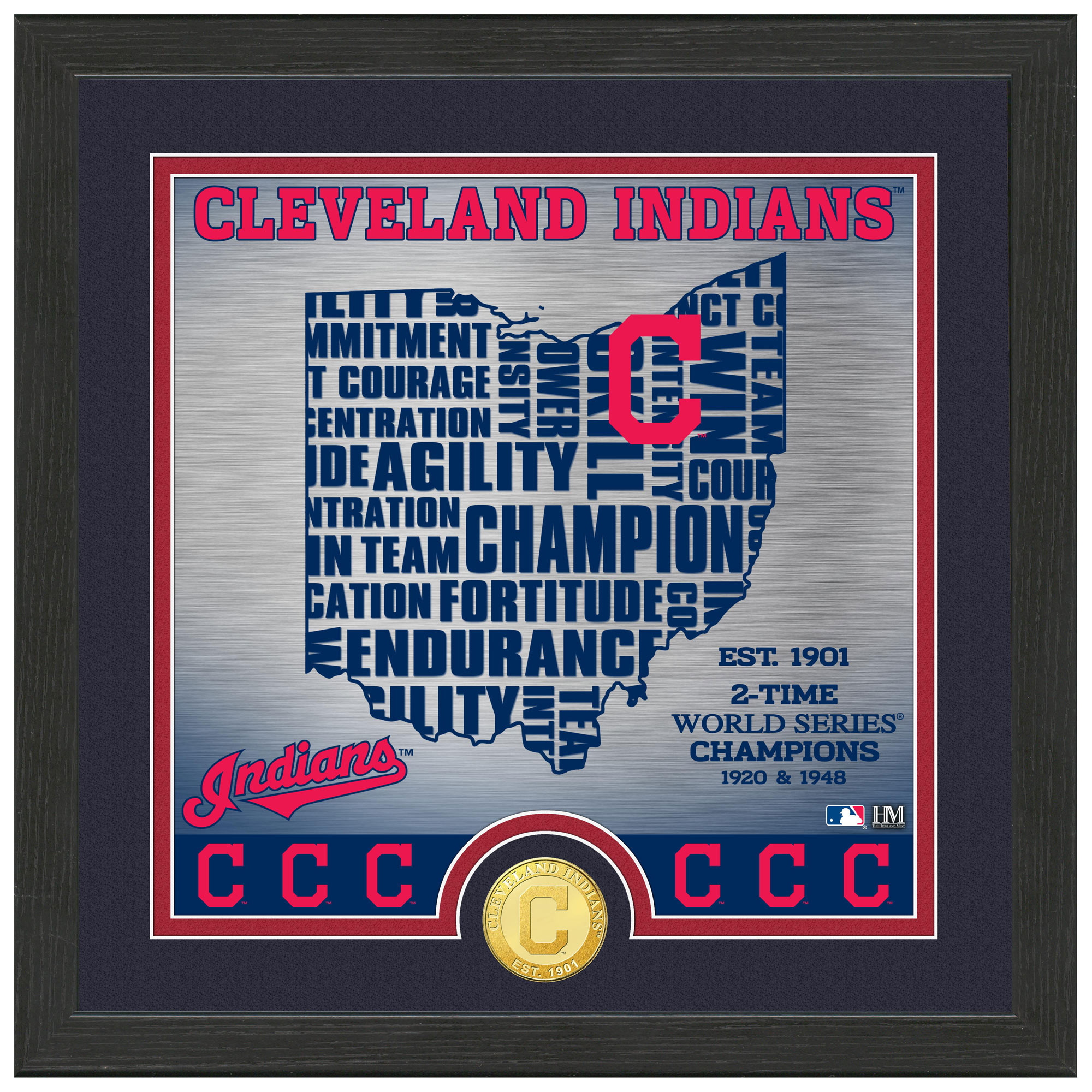 "Cleveland Indians Highland Mint 13"" x 13"" State Bronze Coin Photomint - No Size"
