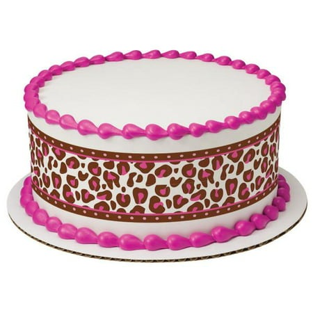 Pink Cheetah Edible Cake Topper Image Strips (Cheetah Cake Inside)