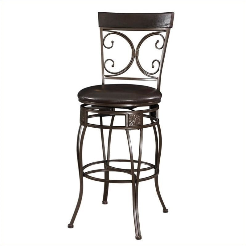 "Powell Big & Tall Back to Back Scroll 30"" Bar Stool, Dark Bronze by L. Powell Acquisition Corp."