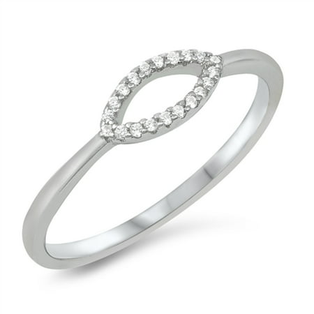 Clear CZ Open Marquise Design Ring Sterling Silver Size 6