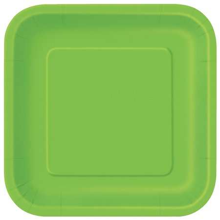Square Lime Green Paper Plates, 14ct By Unique Ship from US](Blue And Green Paper Plates)