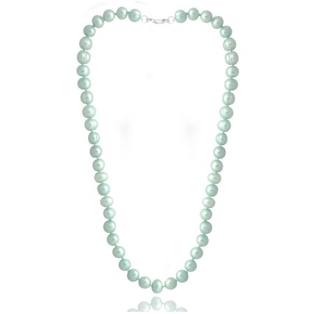 Blue Freshwater Pearl - 8-9mm Light Blue Freshwater Cultured Pearl Necklace, 18