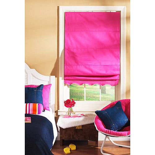 Shades My Way Fabric Window Roman Shade, Pink