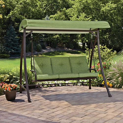 High Quality Mainstays Green Leaf Outdoor Swing, Seats 3   Walmart.com