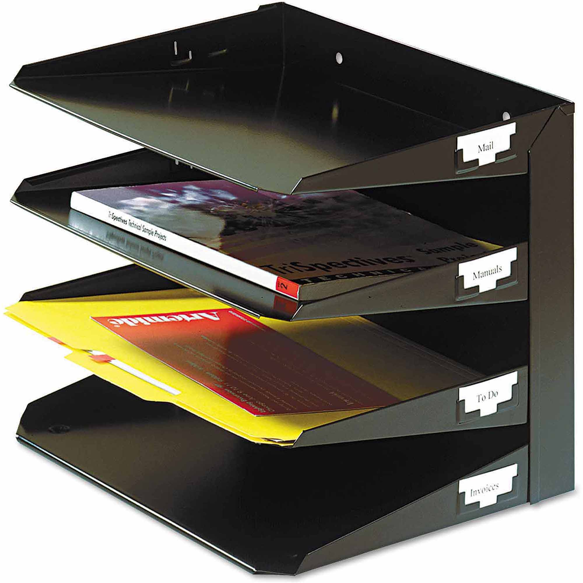 SteelMaster Steelmaster Multi-Tier Horizontal Letter Organizers, 4-Tier, Steel, Black