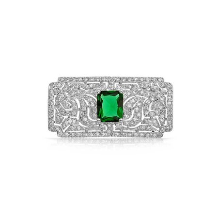 Art Deco Vintage Style Green AAA CZ Rectangle Scarf Brooch Pin For Women Simulated Emerald Cut Silver Plated