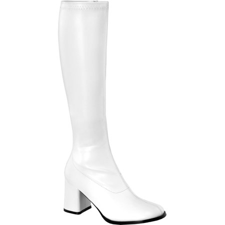 Womens GOGO Boots WIDE WIDTH WIDE CALF Stretch Patent Boot 3 Inch Heel White - Wide Calf Gogo Boots